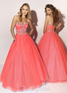 Love this color! Pink coral prom dress! Wish we had this kind of dance!