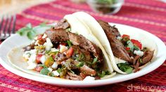 Cooked low and slow, this adobo carne asada is perfect for soft tacos