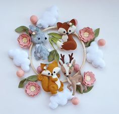 Woodland baby mobile, flowers mobile, forest mobile, nursery mobile woodland animals, new baby gift,