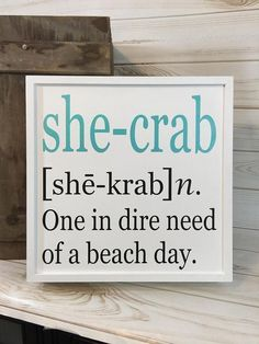 Beach sign crab sign FREE SHIPPING coastal decor crab decor gift for her beach house decor wood beach sign beach gift beach quote *If youve ever had one of THOSE days....well, this whimsical beach sign says it all and is a must have coastal accent for your home! It also makes a #beachsignsandsayings