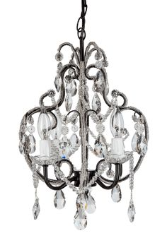 Crystal-Beaded 4 Light Swag Chandelier | Black | Tiffany Collection