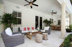 Contemporary Porch with Harbor Breeze Merrimack 52-in Antique Bronze Outdoor Downrod or Flush Mount Ceiling Fan