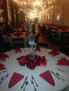 Red and Silver Centerpieces