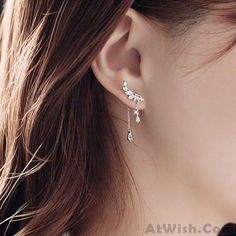Wow~ Awesome Cute Angel Wing Crystal Dangle Drop Pendant Silver Earrings Studs! It only $18.99 at www.AtWish.com! I like it so much<3<3!