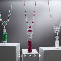 Featuring the finest emeralds, rubies and white diamonds these dynamic tasselled jewels are perfect examples of #GraffDiamonds' gemstone expertise