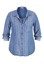 plus size chambray button down shirt in ethnic print - maurices.com