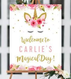Free Editable Unicorn Birthday Party Welcome 810 Sign Pink Gold Glitter Printable Personalize Instantly Unicorn Themed Birthday Party, Unicorn Birthday Invitations, Glitter Birthday, Glitter Party, Birthday Party Games, Unicorn Party, Gold Glitter, Glitter Dress, Glitter Uggs
