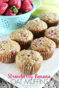Strawberry Banana Oat Muffins - thecraftedsparrow.com