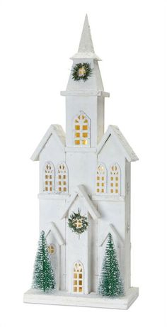 """Christmas/Holiday Battery Timer 28 """" White Wood Church  Village FREE SHIPPING #Unbranded #Christmas Christmas Village Houses, Christmas Villages, Christmas Centerpieces, Xmas Decorations, Christmas Projects, Christmas Holidays, Christmas Ideas, Pottery Houses, Barn Wood Projects"""