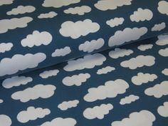 Pyjama!!! Jersey with Clouds whtie on petrol