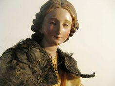 """NEAPOLITAN Painted Terracotta And Wood CRECHE Figure 19 1/2"""" With from dorothy-albert on Ruby Lane"""