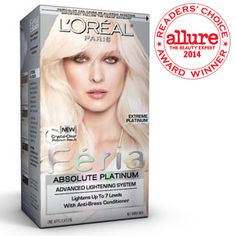 Féria Absolute Platinum - Permanent Blond Hair Color with deep conditioning and the highlights. Feria Hair Color, Bold Hair Color, Color Your Hair, Hair Colors, Blonde Hair Care, White Blonde Hair, Brown Hair, Ice Blonde, Platinum Hair Color