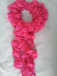 Ruffled Pink Crocheted Scarf