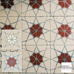 David & Goliath cement tile Rosella 15x15cm. Reproduction of original vintage design