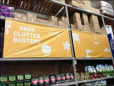 Here upper-stage Pallet Rack becomes the framework for Billboard-like Banners defining the department in two languages. Being a hardware store… Bungee Cord, Clutter, Signage, Signs