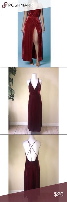 Red Velvet Maxi w/ Deep Slit A red velvet maxi dress with a strappy top and wrap skirt with leg. This is a reposh. It is a small, but I would say it fits a large. It's stretchy and has a nice weight - it lays well. Dresses Maxi