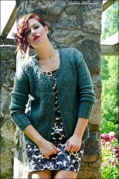 """Broadway Diamonds Cardigan Kit - priced from $176.00 to $350.49. """"This design is based on Dorothy Reade's """"Pattern for a Channel Style Cardigan"""" with some of my own modifications for adding ribbing, waist shaping, and attached front bands. The motif is from Dorothy Reade's 1970 booklet, Decorative Panels For Knitting, which she used as a handout for teaching in the Broadway department stores."""""""