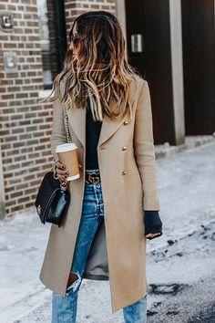 Nadire Atas on Exquisite Camel Coats Brown Wool Coat, Camel Coat Outfit, Peacoat Outfit, Coats For Women, Clothes For Women, Estilo Rock, Casual Fall Outfits, Fashion Outfits, Fashion Trends