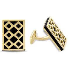 Versace 19.69 Abbigliamento Sportivo Fine Jewelry is defined by Italian elegance, style and quality. These stunning cufflinks feature  rectangular double flat-cut black onyx set in 18k yellow gold plated sterling silver. - 220€