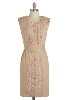 Beading the Way Dress by Darling - Mid-length, Tan, Solid, Crochet, Pearls, Cocktail, Sheath / Shift, Sleeveless, Scoop, Wedding, Party, Bridesmaid, Vintage Inspired