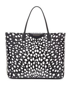 Antigona Large Spotted Shopper Bag, Black/White by Givenchy at Neiman Marcus. Givenchy Handbags, Tote Handbags, Tote Bags, Tote Purse, Givenchy Antigona, Large Leather Tote Bag, Shopper Tote, Printed Bags, Bag Sale