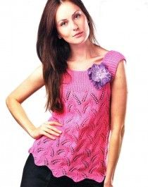Pink Top with Lace Pattern Size: M Knitting Blogs, Sweater Knitting Patterns, Knitting For Beginners, Lace Knitting, Top Rosa, Knitted Flowers, Quick Knits, Summer Knitting, Lace Patterns