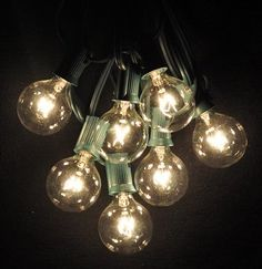 Patio Lighting Solar String Lights | 100 Foot Globe Patio String Lights – Set of 100 G40 Clear Bulbs with ...