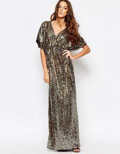 Image 1 ofFirst & I Sequin Kimono Sleeve Maxi Dress