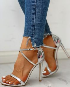 Glitter Multi-strap Ankle Buckled Thin Heeled Sandals trendiest dresses for any occasions, including wedding gowns, special event dresses, accessories and women clothing. Stilettos, Women's Pumps, Stiletto Heels, High Heels, Lace Up Heels, Strap Heels, Ankle Strap, Sexy Heels, Leather Fashion