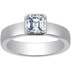18K White Gold Square Bezel Ring, top view