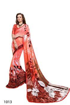 Red Colour Weightless Printed Saree Buy Sarees