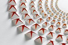 Origami Wall Art, Origami And Kirigami, Paper Crafts Origami, Diy Origami, 3d Paper, Paper Cutting, Deco Dyi, Fabric Manipulation Techniques, Paper Cut Design