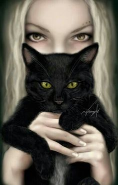 Love the contrast of the fair blonde with the black cat. Their eyes are… Crazy Cat Lady, Crazy Cats, I Love Cats, Cute Cats, Black Cat Art, Black Cats, Black Cat Painting, Here Kitty Kitty, Beautiful Cats
