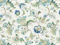 KRAVET-FRENCH-COUNTRY-JACOBEAN-LINEN-TOILE-FABRIC-10-YARDS-BLUE-GREEN-AMBER