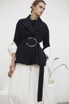 Contemporary Fashion - black & white suit; modern tailoring // Rejina Pyo Fall 2016