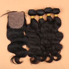4 Bundles Virgin Malaysian Body Wave With Silk Closure Free Middle 3 Part Baddie Hairstyles, Weave Hairstyles, Cool Hairstyles, Brazilian Body Wave, Brazilian Hair, Weft Hair Extensions, Waves Bundle, Wigs, Long Hair Styles