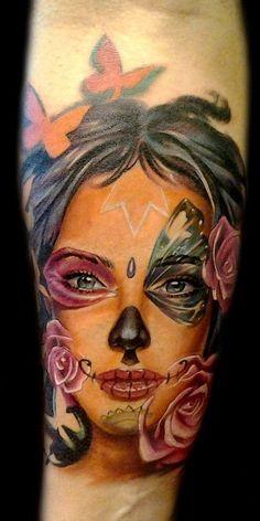 Sugar Skull Girl Tattoo | Found on antonioproietti.it