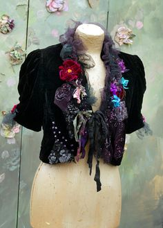 RESERVED- Rendezvous bolero, bohemian romantic, altered couture, vintage textiles