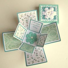 Mothers Day Card Exploding Box Teal and White by BGardenCreations More