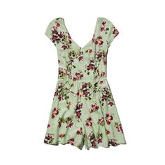 Abercrombie & Fitch Alicia Romper ($17) ❤ liked on Polyvore featuring jumpsuits, rompers, dresses, jumpsuit, vestidos, green floral, white romper, white rompers, floral romper and floral rompers