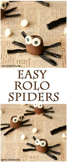 ROLO CHOCOLATE SPIDERS... so cute for Halloween and easy enough for kids to make them too. From cakewhiz.com
