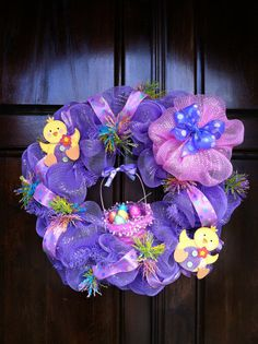 Lavender Deco Mesh Easter Wreath with Basket of by halliegrace24, $55.00
