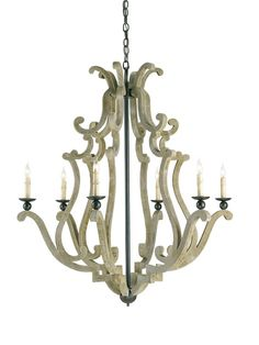 DINING ROOM #9636 - 42h x 38d x 38w Harmonious scrolling curves translate into an unassuming but eminently stylish design. The Durand Chandelier's traditional form is constructed by means of a hand-finishing process using wrought iron and concrete, lending a rustic quality to this splendid piece.