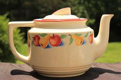 Vintage Harkers Apples & Pears 1940s Teapot Fruit Pattern Pottery Hot Oven Cookingware Farmhouse Chic Kitchen Collectable....too cute I have the matching covered serving bowl