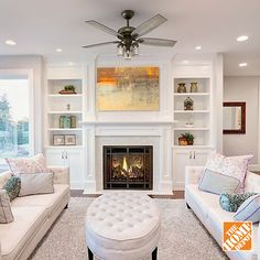33 gorgeous living room shelving design ideas for copy 21 Fireplace Built Ins, Home Fireplace, Living Room With Fireplace, Fireplace Design, My Living Room, Home And Living, Living Room Decor, Interior Design Living Room, Living Room Designs