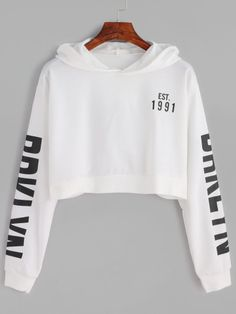 White Letter Print Crop Hooded Sweatshirt http://bellanblue.com