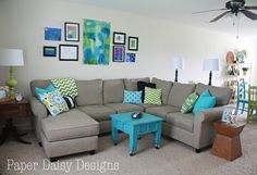 I love the relaxed look of grey with turquoise and green color pops