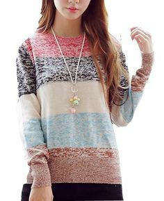 $48.84 cool Vangood Women's Long Sleeved Thickened Rainbow Knitting Bottoming Shirt Sweater
