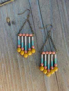 Native American Inspired Beaded Earrings by kidblue on Etsy, $15.00
