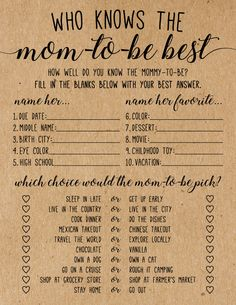 Who Knows the Bride-to-be Best . Who Knows the Bride Best Bridal Shower Game . Bridal Shower Games Prizes, Bridal Shower Questions, Bridal Shower Question Game, Bridal Shower Planning, Printable Bridal Shower Games, Bachelorette Party Games, Game Prizes, Bridal Party Games, Engagement Party Games